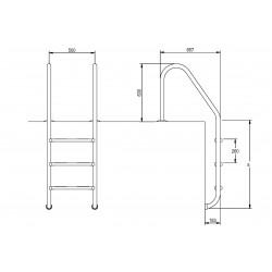 Scara standard 3 trepte AISI-304  de la Flexinox referinta 87112934