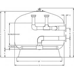 Filtru bobinat Fiberpool, D3000, conexiune 250mm  de la Hayward Commercial Aquatics referinta HCFF1182502WVA