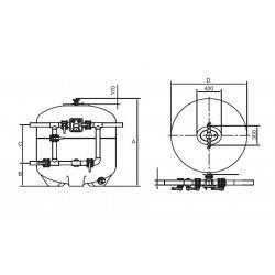 Filtru Brazil, D2500, conexiune 225mm  de la Hayward Commercial Aquatics referinta HCFB982252LVA