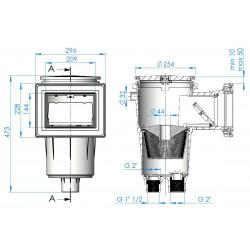 Skimmer gura standard 17.5L, beton - dimensiuni fata-lateral