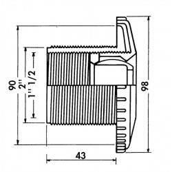 "Duza refulare perete beton orientabila, 2""F.E.-1.5""F.I.  de la Hayward Pool referinta 3312"