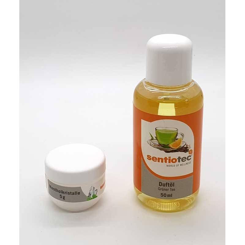 Set Wellness 2 bucati, esenta ceai verde si cristale mentolate  de la Sentiotec referinta SET-2-CEAI-VERDE