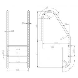 Scara standard 4 trepte AISI-316 IP4  de la  Hayward Commercial Aquatics referinta 070110040000