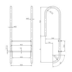 Scara Wall 5 trepte AISI-316 IM5  de la  Hayward Commercial Aquatics referinta 070210050000