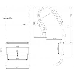 Scara Mixto 4 trepte AISI-316 IMX4  de la  Hayward Commercial Aquatics referinta 070310040000